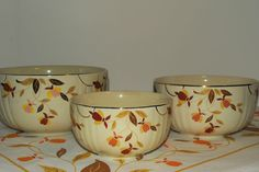 """Jewel Tea Autumn Leaf 3 Piece """"Radiance"""" Utility Bowl Set by Hall China--my mom just loved these.."""