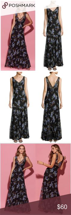 """NWT V-neck Floral Embroidered Full Length Gown NWT! Floral-Embroidered V-neck FULL LENGTH """"GOWN"""". Color: Black Multi. Size: US 6. Brand: Label by 5Twelve. Retail Price: $398.00. You can dress to impress with this casual yet alluring floral print, embroidered V-neck gown.    V neckline; V'd back. Sleeveless. Dropped waist. Slim silhouette. Flowy skirt. Back zip. Polyester. Lining, rayon/spandex. label by 5twelve Dresses Maxi"""
