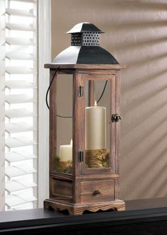 "LARGE WOODEN LANTERN with Drawer 25"" Tall Candleholder #GalleryofLight"