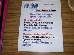 It's good to be creative.  I sometimes make these kind of flyers for the guest coming letting them know who is speaking at the Jobs Club.