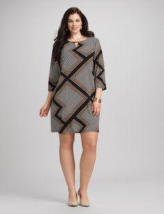 Plus Size | Dresses | Work Dresses | Plus Size Geometric Shift Dress
