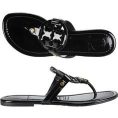 TORY BURCH Miller Thong Sandal Black Patent ($195) ❤ liked on Polyvore