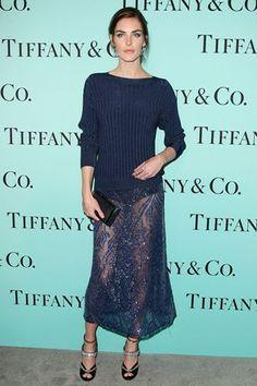 Hilary Rhoda in navy lace #style #fashion #model