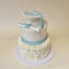 Pearlized White and Teal Tiered Graduation