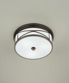 Three Light Bronze Drum Shade Flush Mount : SKU 247HR | Kody Lighting, Inc.