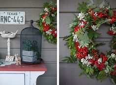 Red and white berries in a wreath