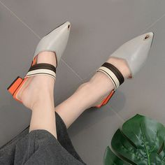 Block Heel Pointed Toe Mules Shoes - GRAY 40