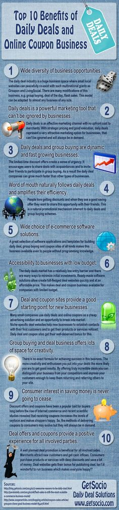 Top 10 Benefits of #DailyDeals and Online #CouponBusiness #Infographic
