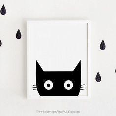 Chambre denfant noir et blanc affiche bebe INSTANT par ARTsopoomc