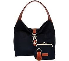 A classic hobo silhouette with casual appeal--that's the winning combination of this knockout nylon handbag from Dooney & Bourke. The goldtone logo lock closure and signature red lining add elevated designer details and lots of inside pockets and four bottom feet keep the bag both organized and upright. From Dooney & Bourke. QVC.com