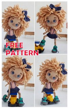 Doll Amigurumi Free Pattern, Doll Patterns Free, Crochet Dolls Free Patterns, Amigurumi Doll, Crochet Toys, Amigurumi For Beginners, Little Doll, Stuffed Toys Patterns, Curly Hair