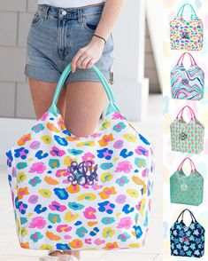 Monogrammed beach bag can be monogrammed with custom embroidery with a name or monogram. Haul it all to the beach with the large bag! Holds a couple of towel and all of the essentials! Patterns: Sea Turtle, Leopard, Flamingo, Pineapple & Marble Large Beach Bags, Large Bags, Embroidered Gifts, Beach Ready, Custom Embroidery, Turtle, Paisley, Monogram, Flamingo
