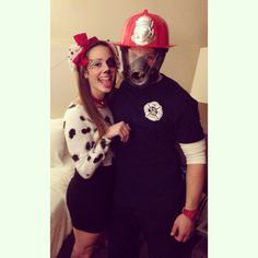 Firefighter and dalmation coatume. DIY couples costume!!