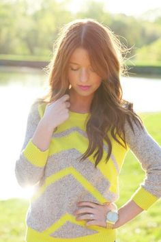 neon yellow and gray chevron sweater