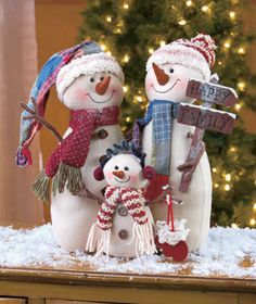 Plush snowman holiday family