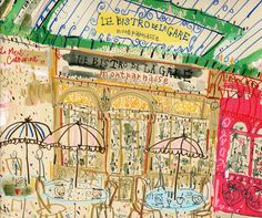 This listing is for a signed print titled Le Bistro De La Gare Paris by UK artist and printmaker Clare Caulfield.