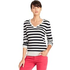Tommy Hilfiger women's sweater. Our striped V-neck pullover sweater reaffirms our affinity for stripes. Comfy enough and fitted to be worn as a first layer.• Slim fit.• 65% cotton, 35% nylon.• Soft Pima cotton, slightly stretchy, microflag on chest.• Machine washable.• Imported.