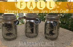 Fall Mirrored Glass Mason Jars Candle Craft Autumn