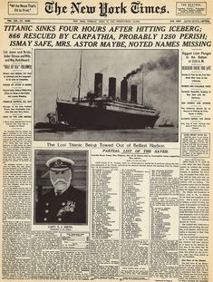 New York Times article from April 1912 about the Titanic Sinking. The Titanic steamship was the largest ship ever built at the time. In the ship sailed from Southampton, England to New York City. On April 1912 the ship struck an iceberg. Rms Titanic, Titanic Sinking, Titanic Wreck, Titanic Movie, Belfast, Etiquette Vintage, Kino Film, Modern History, History Images