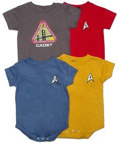 ThinkGeek :: Star Trek Uniform Creepers. My mother tells me I should never dress my newborn in the red one.