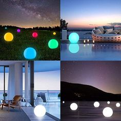 Alwoa LED Ball Lights, Floating Pool Lights, 16 Color Changing, Waterproof, Rechargeable Moon Lamp Perfect for Kids Bedroom Garden Pool Party Decoration 1 Pack) Floating Pool Lights, Pool Party Decorations, Ball Lights, Garden Pool, Cool Pools, Kids Bedroom, Color Change, Outdoor Gardens, Home And Garden