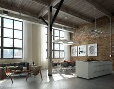 Modern interior design ideas that brighten up brick walls with white paint help to bring a light neutral color into decorating palette to calm down