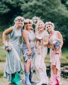 Every bride needs her bridesmaids and wellys! Photographer: http://rachelhayton.com/