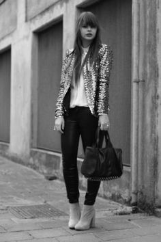 Not a fan of dresses? Throw a shiny blazer over pants for a chic yet dressy look.