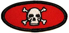 """Amazon.com: [Single Count] Custom and Unique (3"""" by 1 3/8"""" Inches) Uniform Name Tag Skull and Crossbones Iron On Embroidered Applique Patch {Red, White, and Black Colors}"""