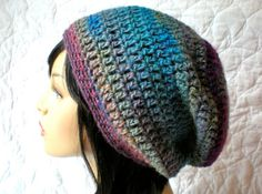 PATTERN:  Aurora Slouch-  slouchy beanie hat P D F, easy crochet pattern, InStAnT DoWnLoAd, Permission to Sell 4.99