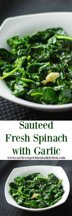 Fresh baby spinach sauteed with extra virgin olive oil and garlic; then lightly seasoned with salt and pepper.