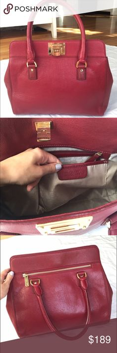 Large Michael Kors bag Authentic large leather Michael Kors bag in red!! Perfect for the holidays and special events. Gold accents & 2 rounded handles with outside zippered pocket. Like new, worn twice with very barely any signs of wear. Considering all reasonable offers. MICHAEL Michael Kors Bags Totes