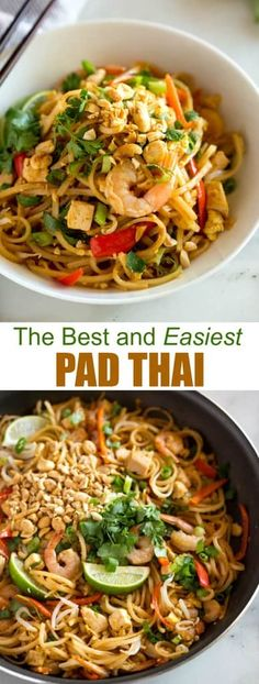 This amazing Pad Thai recipe is easy, approachable and can be made in under 30 minutes, It starts with fresh ingredients including rice noodles, chicken, shrimp, tofu, cilantro, bean sprouts, peanuts and scrambled eggs tossed in a delicious homemade pad thai sauce that is so good it tastes like it came from your favorite Thai restaurant. #padthai #thai #ricenoodles #easy #authentic #shrimp #chicken #tofu #vegetarian via @betrfromscratch