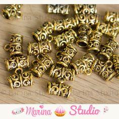 50 bélières en or doré ancien ajourées 11x5mm ms02886