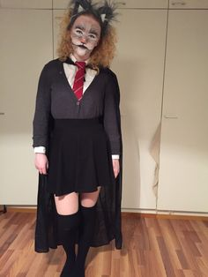 My cat-Hermione costume. After she drinks polyjuice potion. Harry potter