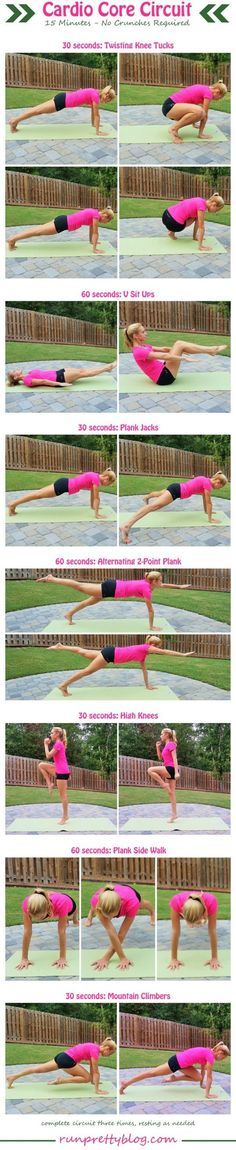 Cardio Core Circuit from RunPrettyBlog.com - plus more workouts for the abs and core. #cardiogym