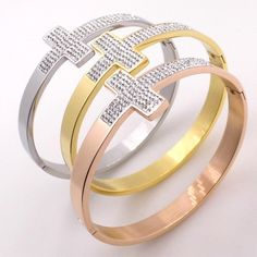 Fashion Women Rose Gold Plated Wide Cross Bangles with Crystal Stainless Steel Cuff Jewelry Vintage Bracelet Fashion Girl Gift