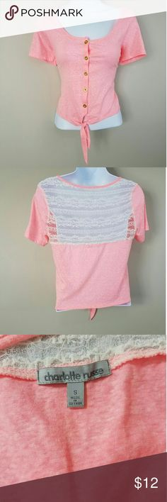 Charlotte Russe Button Tie Crop Top Blouse Lace S Great Condition! No Rips or Tears Armpit to Armpit - 16 inches Shoulder to Hem - 19 inches Charlotte Russe Tops Crop Tops