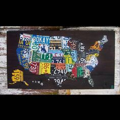 Original United States Map - Adventure Road Trip Hiking Awesome Recycled License Plate Art - Salvage