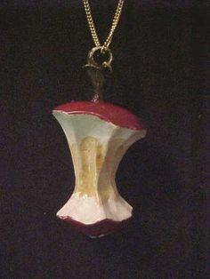 Vintage Necklace-Goldtone chain w/ 1970's Plastic Apple Core Pendant-pend 1 1/4
