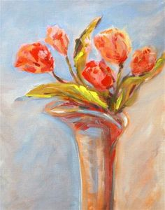 """Daily Paintworks - """"Tulips Five"""" - Original Fine Art for Sale - © Mary Schiros"""