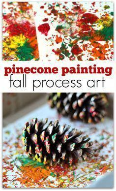 process art using pinecones to paint. Pinecone painting is the perfect fall process art activity for preschool or at home.Explore process art using pinecones to paint. Pinecone painting is the perfect fall process art activity for preschool or at home. Fall Crafts For Kids, Art For Kids, Fall Toddler Crafts, Spring Crafts, Fall Art For Toddlers, Kids Diy, Kids Crafts, Pine Cone Crafts For Kids, Thanksgiving Preschool Crafts