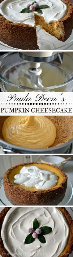 Paula Deen's Pumpkin Cheesecake ~ this mile high, super creamy cheesecake is a spectacular way to end a holiday meal! #cheesecake #pumpkincheesecake #bestcheesecake #recipe #PaulaDeen #cake #Thanksgivingdessert #Christmasdessert #holidaydessert