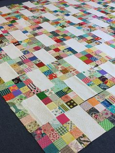 "As promised I have started a new and simple  patchwork project! I started cutting out 2.5"" squares from my scraps  about e..."