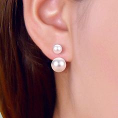 Natural gray 11-12 MM Akoya Freshwater Pearl 14K Plaqué or Boucles d/'oreilles Clou