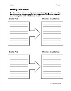 Inferences Chart - Write the important details and facts in the boxes on the left. Then write inferences about those important details in the boxes on the right