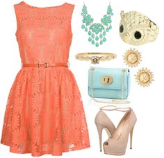 """""""coral and blue"""" by mirandablair85 on Polyvore"""
