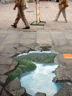 Oeuvres d'art, dessins 3D fait sur la chaussée (photos)   Soyez le changement que vous voulez voir dans le monde
