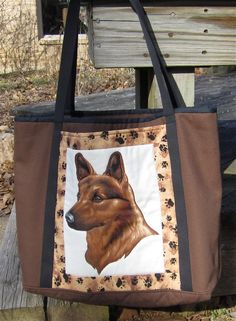 Dog Lover's Tote Bag - Large German Shepherd Tote by ISewTotes on Etsy