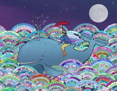 Lucy Farfort - Whale and Me Illustration - Artists & Illustrators - Original art for sale direct from the artist Graphic Design Illustration, Illustration Art, Umbrella Art, All Nature, Art For Sale, Line Art, Original Artwork, Art Prints, Creative